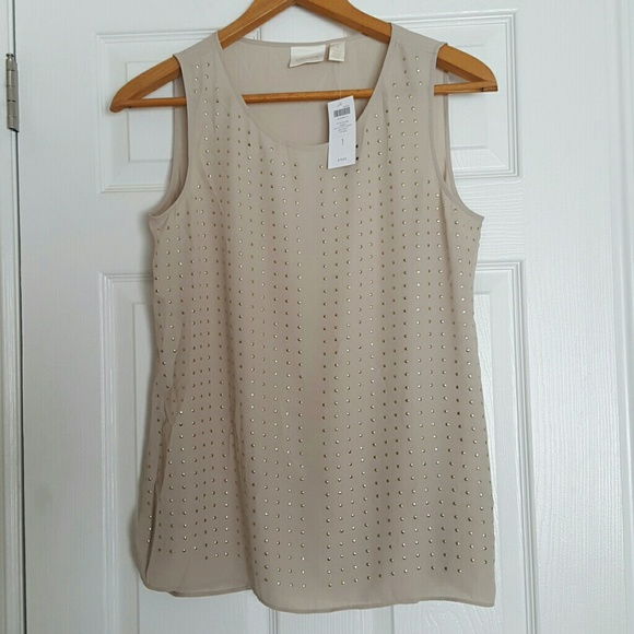 Chico's beige khaki gold studded blouse top Medium